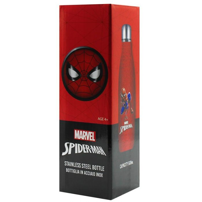 disney spiderman stainless steel water bottle 500ml (red) - export 2251