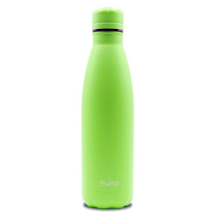 puro icon fluo thermal stainless steel water bottle 500ml (green) (powder coating) - export 2259