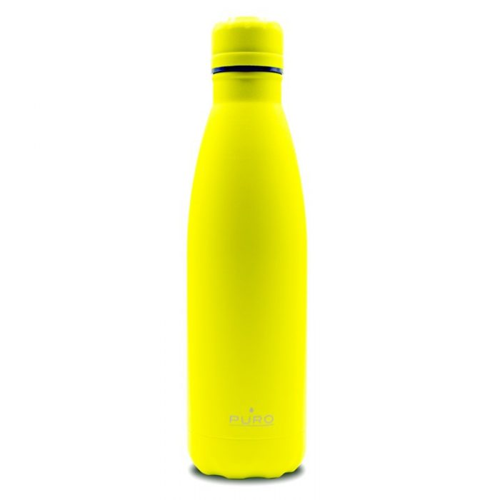 puro icon fluo thermal stainless steel water bottle 500ml (yellow) (powder coating) - export 2262