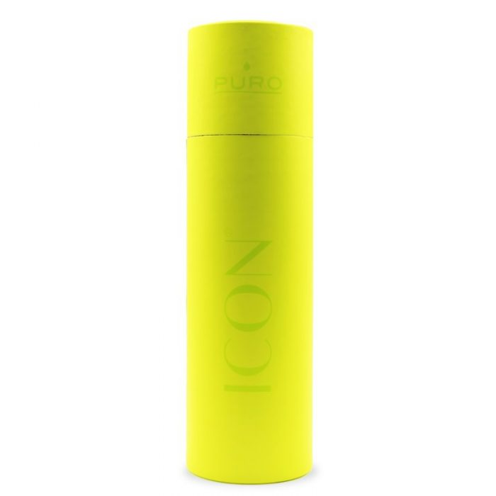 puro icon fluo thermal stainless steel water bottle 500ml (yellow) (powder coating) - export 2263