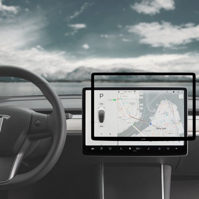 moshi ivisor ag - bubble-free screen protector for tesla model 3's central touchscreen (black/clear matte) - export 2324