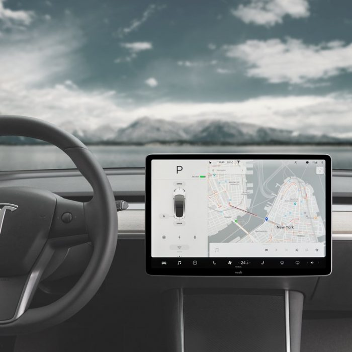 moshi ivisor ag - bubble-free screen protector for tesla model 3's central touchscreen (black/clear matte) - export 2325