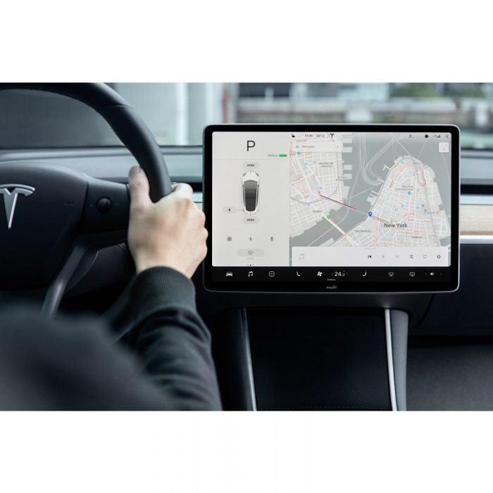 moshi ivisor ag - bubble-free screen protector for tesla model 3's central touchscreen (black/clear matte) - export 2327