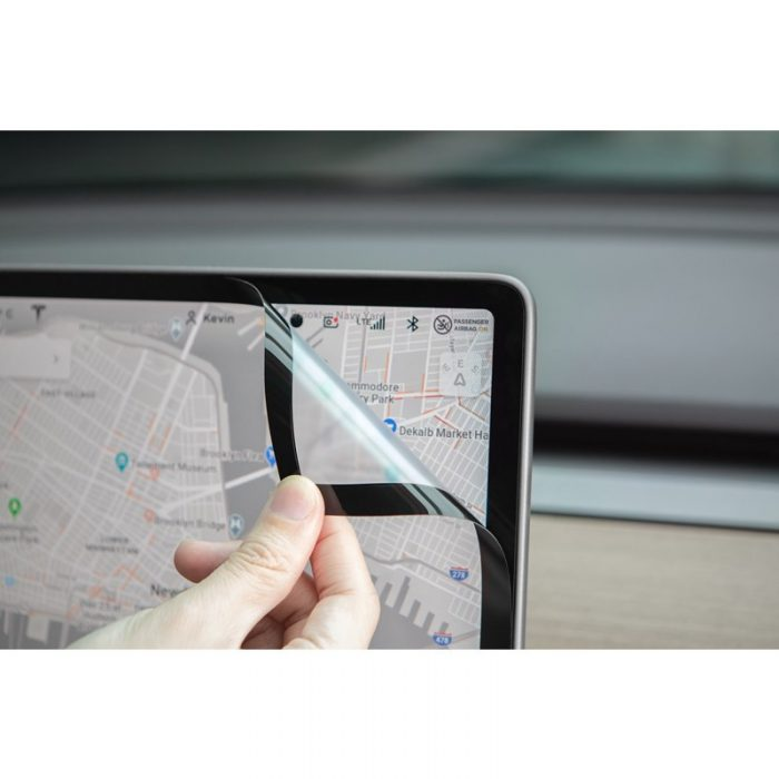 moshi ivisor ag - bubble-free screen protector for tesla model 3's central touchscreen (black/clear matte) - export 2329