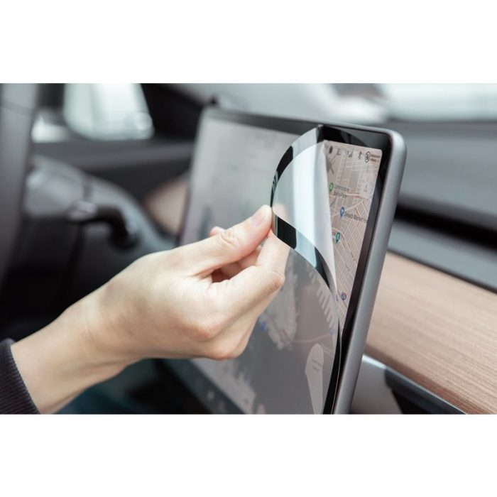 moshi ivisor ag - bubble-free screen protector for tesla model 3's central touchscreen (black/clear matte) - export 2330