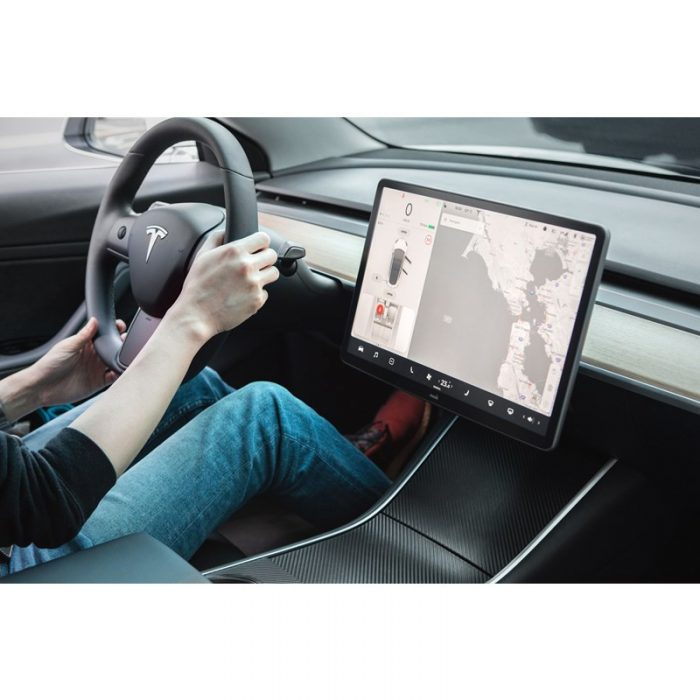 moshi ivisor ag - bubble-free screen protector for tesla model 3's central touchscreen (black/clear matte) - export 2334
