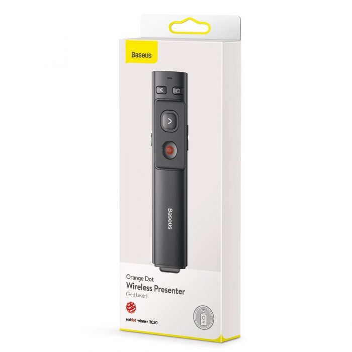 baseus orange dot multifunctionale remote control for presentation, with a laser pointer - gray - export 2436