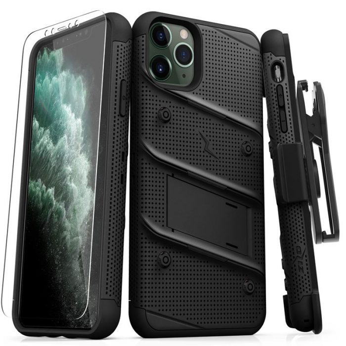Zizo Bolt Cover - Case for iPhone 11 Pro Max with Military Grade + Glass Screen Protector & Kickstand and Holster (Red/Black) - export 2709