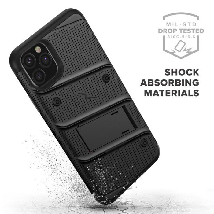 Zizo Bolt Cover - Case for iPhone 11 Pro Max with Military Grade + Glass Screen Protector & Kickstand and Holster (Red/Black) - export 2711
