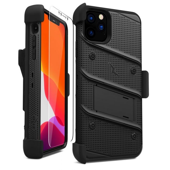 Zizo Bolt Cover - Case for iPhone 11 Pro Max with Military Grade + Glass Screen Protector & Kickstand and Holster (Red/Black) - export 2714