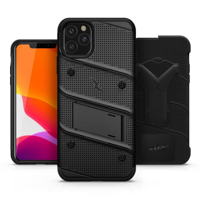 Zizo Bolt Cover - Case for iPhone 11 Pro Max with Military Grade + Glass Screen Protector & Kickstand and Holster (Red/Black) - export 2715