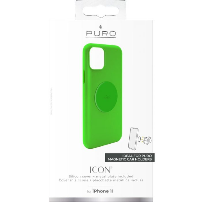 puro icon+ cover apple iphone 11 (fluo green) - export 3389