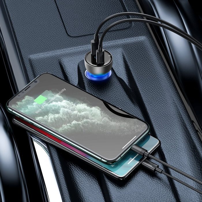 baseus particular digital display qc+pps dual quick charger car charger 65w silver - export 342