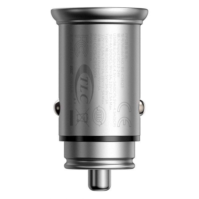 baseus circular metal pps quick charger car charger 30w (support vooc) silver - export 364