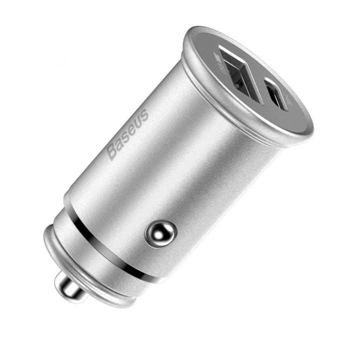 baseus circular metal pps quick charger car charger 30w (support vooc) silver - export 365