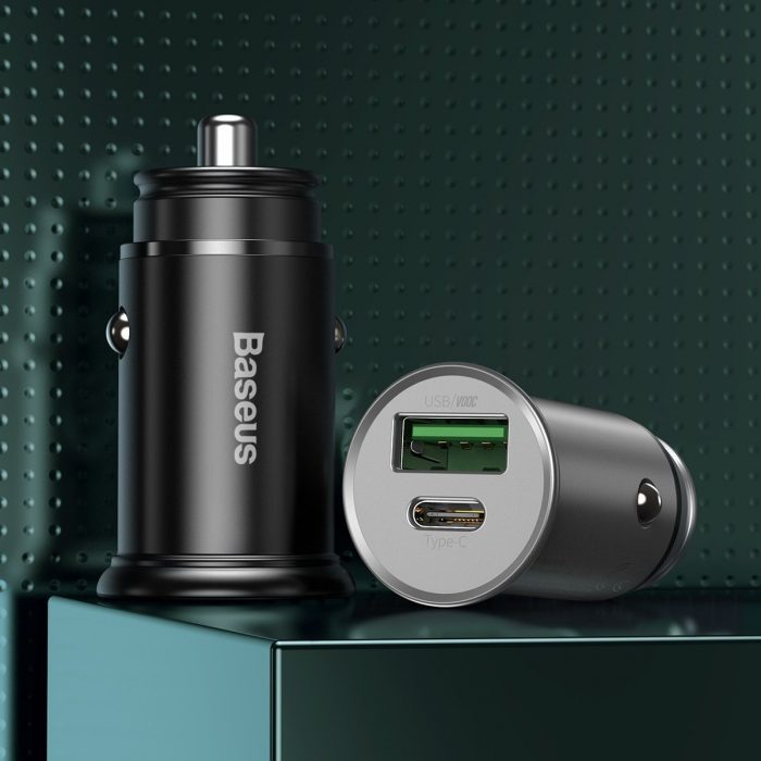 baseus circular metal pps quick charger car charger 30w (support vooc) silver - export 367