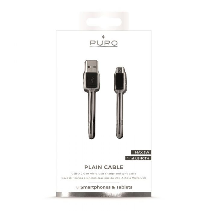 PURO micro USB to USB Cable, 1A, 1m (black) - export 4168
