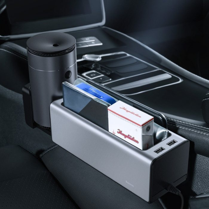 baseus deluxe metal car organizer with cup holder, 2x usb charge (silver) - krytaren.sk baseus deluxe metal car organizer with cup holder 2x usb charge silver others 8