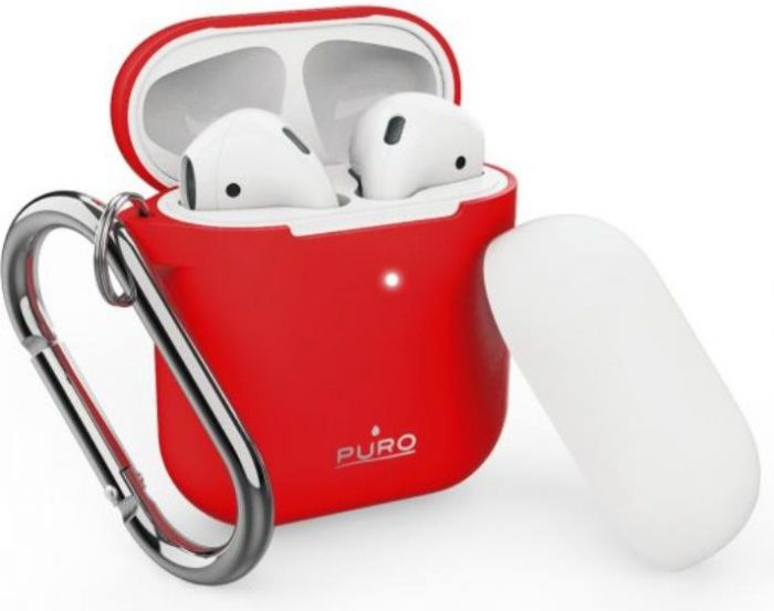 airpods - puro icon apple airpods 1 & 2 with hook (red + white cap) - 1 - krytaren.sk