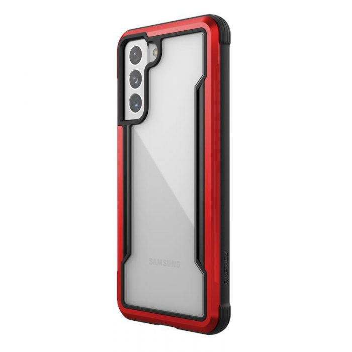 s21 - x-doria raptic shield aluminum case samsung galaxy s21 (antimicrobial protection) (red) - 1 - krytaren.sk