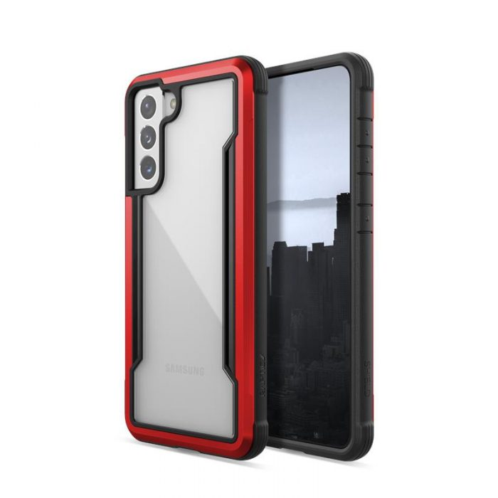 s21 - x-doria raptic shield aluminum case samsung galaxy s21 (antimicrobial protection) (red) - 3 - krytaren.sk