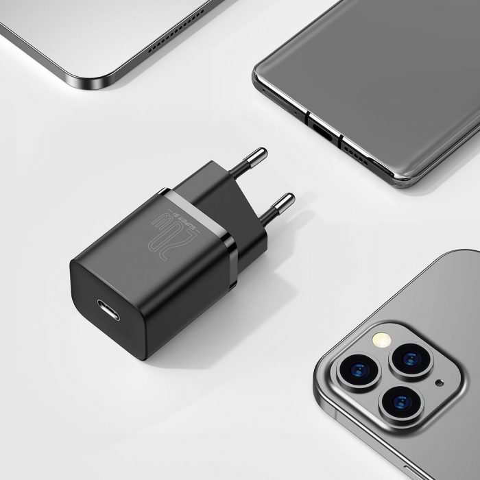 wall chargers - baseus super si quick charger 1c 20w with usb-c cable for lightning 1m (black) - 9 - krytaren.sk