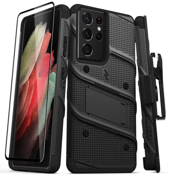s21 ultra - zizo bolt cover - samsung galaxy s21 ultra 5g armored case with 9h glass for the screen + stand & belt clip (black) - 1 - krytaren.sk