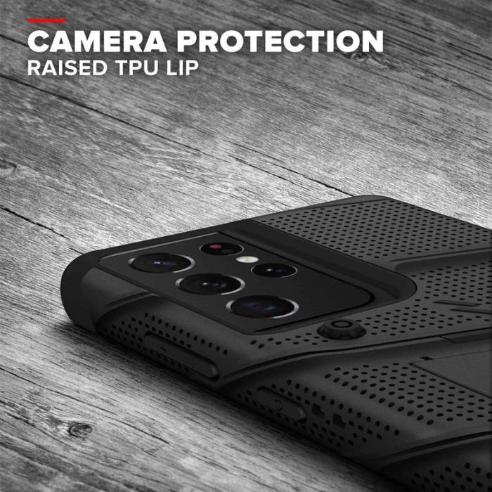 s21 ultra - zizo bolt cover - samsung galaxy s21 ultra 5g armored case with 9h glass for the screen + stand & belt clip (black) - 8 - krytaren.sk