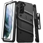 S21 Plus - Zizo Bolt Cover - Samsung Galaxy S21 + 5G armored case with 9H glass for the screen + stand & belt clip (black) - 1 - krytaren.sk