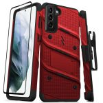 S21 Plus - Zizo Bolt Cover - Samsung Galaxy S21 + 5G armored case with 9H glass for the screen + stand & belt clip (red / black) - 1 - krytaren.sk