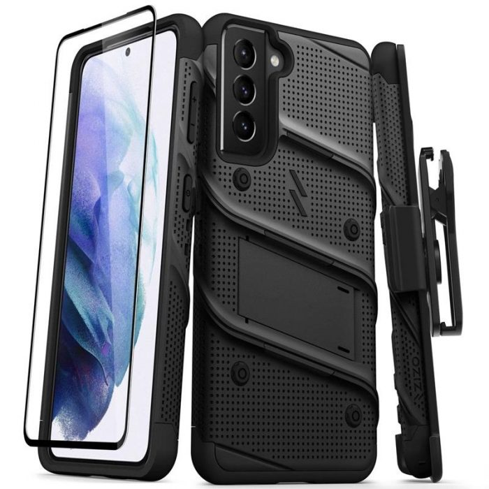s21 - zizo bolt cover - samsung galaxy s21 5g armored case with 9h glass for the screen + stand & belt clip (black) - 1 - krytaren.sk