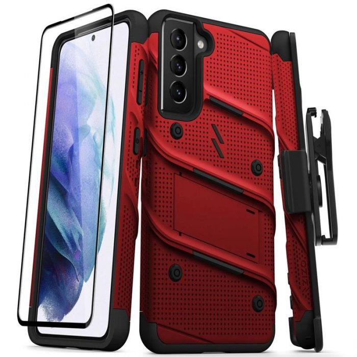 s21 - zizo bolt cover - samsung galaxy s21 5g armored case with 9h glass for the screen + stand & belt clip (red / black) - 1 - krytaren.sk