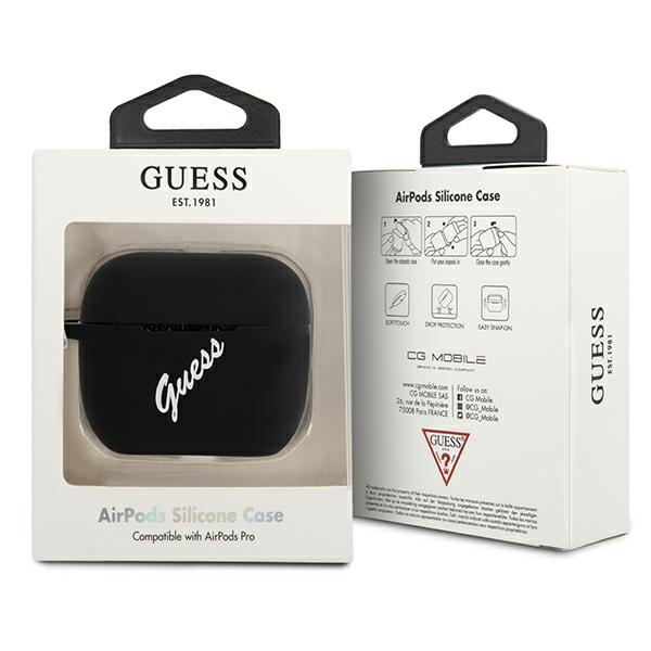 airpods - guess guacaplsvsbw apple airpods pro cover black white silicone vintage - 3 - krytaren.sk
