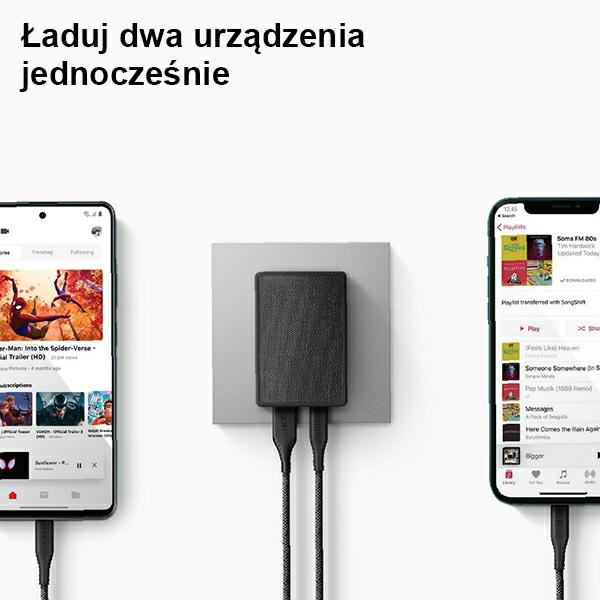wall chargers - uniq wall charger votre slim duo 20w usb-c + usb-a charcoal black - 2 - krytaren.sk