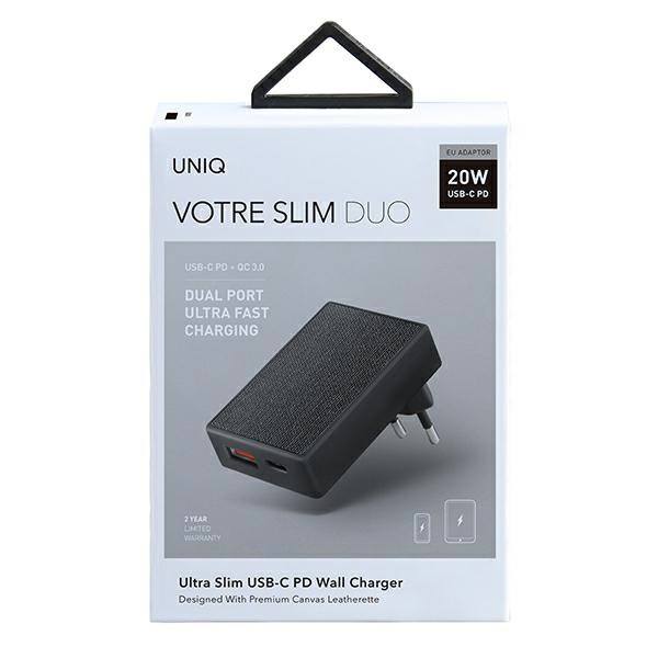 wall chargers - uniq wall charger votre slim duo 20w usb-c + usb-a charcoal black - 7 - krytaren.sk