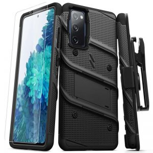 S20 FE - Zizo Bolt Cover - Samsung Galaxy S20 FE armored case with 9H glass for the screen + stand & belt clip (black) - 1 - krytaren.sk