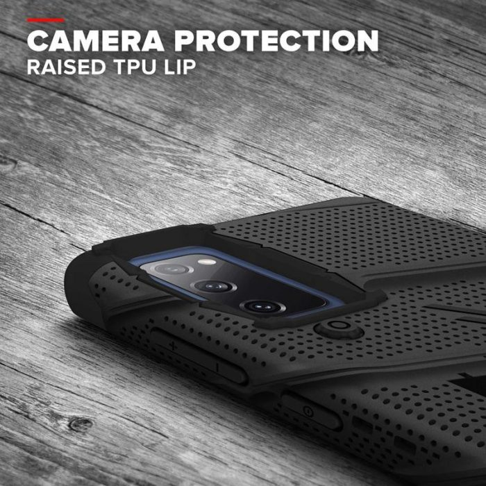 s20 fe - zizo bolt cover - samsung galaxy s20 fe armored case with 9h glass for the screen + stand & belt clip (black) - 7 - krytaren.sk