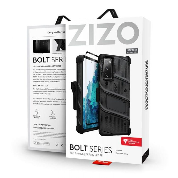 s20 fe - zizo bolt cover - samsung galaxy s20 fe armored case with 9h glass for the screen + stand & belt clip (black) - 9 - krytaren.sk