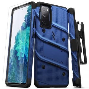 S20 FE - Zizo Bolt Cover - Samsung Galaxy S20 FE armored case with 9H glass for the screen + stand & belt clip (blue / black) - 1 - krytaren.sk