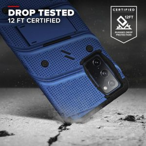 S20 FE - Zizo Bolt Cover - Samsung Galaxy S20 FE armored case with 9H glass for the screen + stand & belt clip (blue / black) - 2 - krytaren.sk