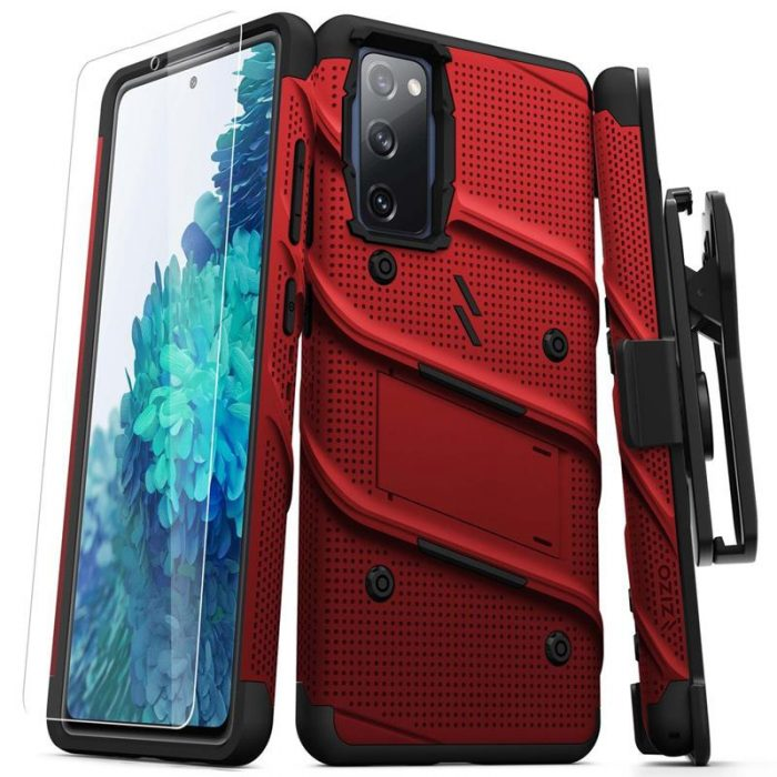 s20 fe - zizo bolt cover - samsung galaxy s20 fe armored case with 9h glass for the screen + stand & belt clip (red / black) - 1 - krytaren.sk