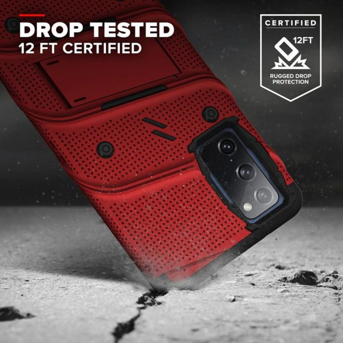 s20 fe - zizo bolt cover - samsung galaxy s20 fe armored case with 9h glass for the screen + stand & belt clip (red / black) - 2 - krytaren.sk