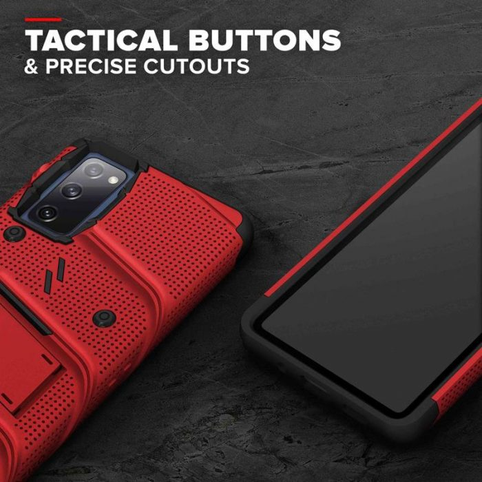 s20 fe - zizo bolt cover - samsung galaxy s20 fe armored case with 9h glass for the screen + stand & belt clip (red / black) - 7 - krytaren.sk