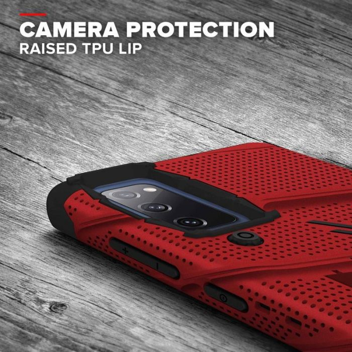 s20 fe - zizo bolt cover - samsung galaxy s20 fe armored case with 9h glass for the screen + stand & belt clip (red / black) - 8 - krytaren.sk