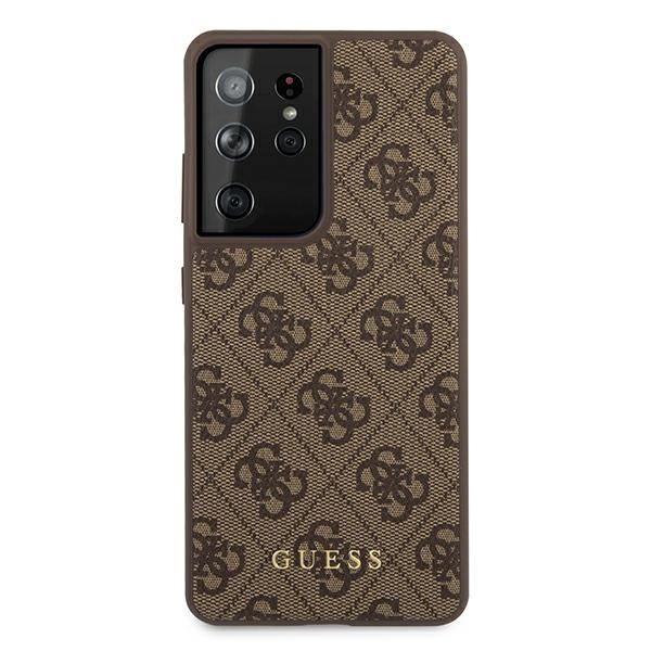 s21 ultra - guess guhcs21lg4gfbr samsung galaxy s21 ultra brown hard case 4g metal gold logo - 3 - krytaren.sk