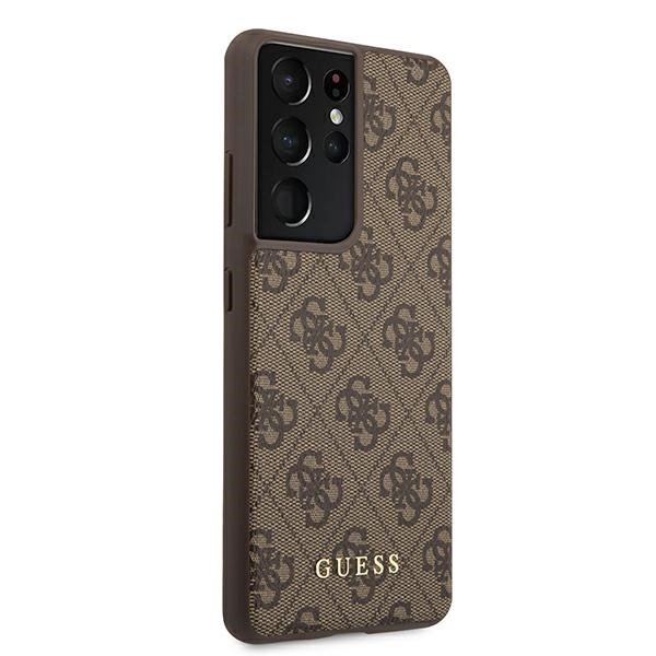 s21 ultra - guess guhcs21lg4gfbr samsung galaxy s21 ultra brown hard case 4g metal gold logo - 4 - krytaren.sk
