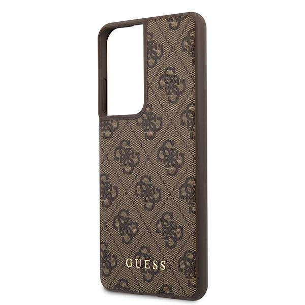 s21 ultra - guess guhcs21lg4gfbr samsung galaxy s21 ultra brown hard case 4g metal gold logo - 6 - krytaren.sk