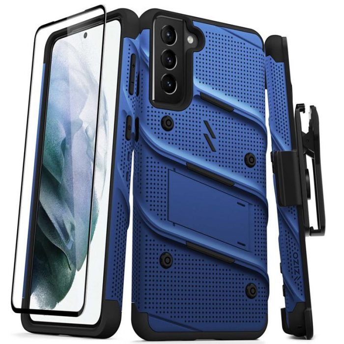 s21 plus - zizo bolt cover - samsung galaxy s21+ plus 5g armored case with 9h glass for the screen + stand & belt clip (blue / black) - 1 - krytaren.sk