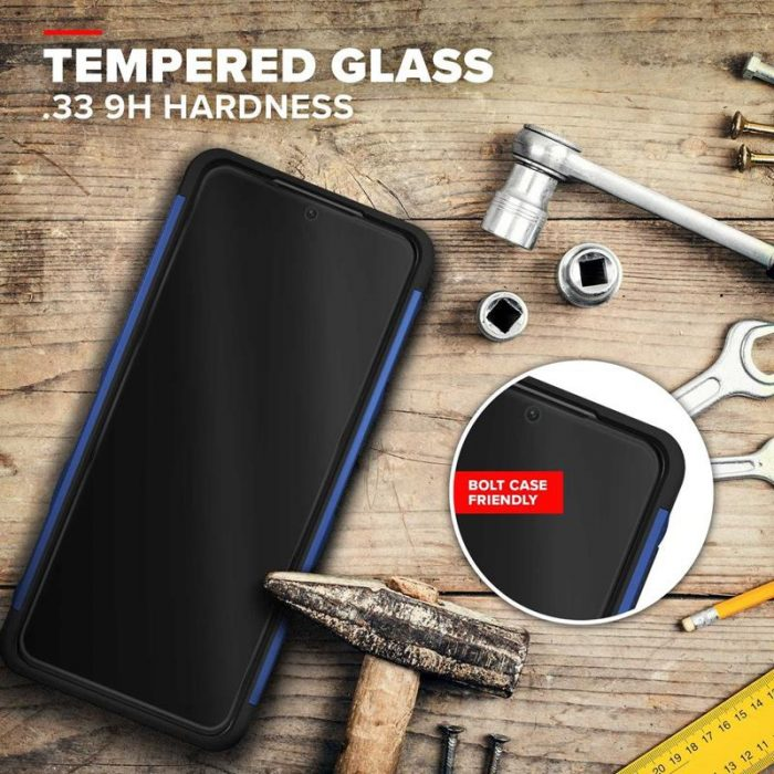 s21 plus - zizo bolt cover - samsung galaxy s21+ plus 5g armored case with 9h glass for the screen + stand & belt clip (blue / black) - 3 - krytaren.sk