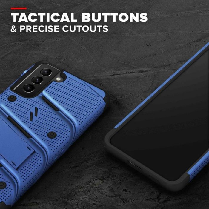 s21 plus - zizo bolt cover - samsung galaxy s21+ plus 5g armored case with 9h glass for the screen + stand & belt clip (blue / black) - 8 - krytaren.sk